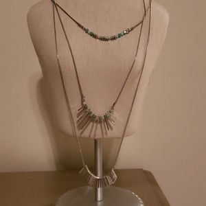 NWT - Silver & Aqua Layered Necklace